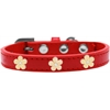 Mirage Pet Products Gold Flower Widget Dog Collar Red Size 18