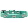 Mirage Pet Products Silver Bone Widget Dog Collar Aqua Size 10