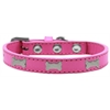 Mirage Pet Products Silver Bone Widget Dog Collar Bright Pink Size 16