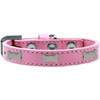 Mirage Pet Products Silver Bone Widget Dog Collar Light Pink Size 14