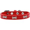 Mirage Pet Products Silver Bone Widget Dog Collar Red Size 18
