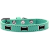 Mirage Pet Products Black Bone Widget Dog Collar Aqua Size 14
