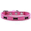 Mirage Pet Products Black Bone Widget Dog Collar Bright Pink Size 16
