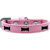 Mirage Pet Products Black Bone Widget Dog Collar Light Pink Size 14