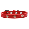 Mirage Pet Products Gold Crown Widget Dog Collar Red Size 18
