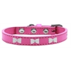 Mirage Pet Products White Bow Widget Dog Collar Bright Pink Size 16