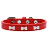 Mirage Pet Products White Bow Widget Dog Collar Red Size 20