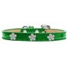 Mirage Pet Products Silver Flower Widget Dog Collar Emerald Green Ice Cream Size 14