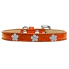 Mirage Pet Products Silver Flower Widget Dog Collar Orange Ice Cream Size 16