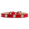 Mirage Pet Products Silver Flower Widget Dog Collar Red Ice Cream Size 10