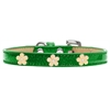 Mirage Pet Products Gold Flower Widget Dog Collar Emerald Green Ice Cream Size 14