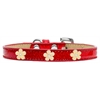 Mirage Pet Products Gold Flower Widget Dog Collar Red Ice Cream Size 16