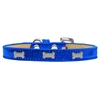 Mirage Pet Products Silver Bone Widget Dog Collar Blue Ice Cream Size 16