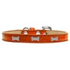 Mirage Pet Products Silver Bone Widget Dog Collar Orange Ice Cream Size 16