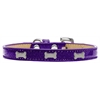 Mirage Pet Products Silver Bone Widget Dog Collar Purple Ice Cream Size 16