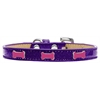 Mirage Pet Products Pink Bone Widget Dog Collar Purple Ice Cream Size 16