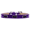 Mirage Pet Products Black Bone Widget Dog Collar Purple Ice Cream Size 14