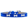 Mirage Pet Products White Bow Widget Dog Collar Blue Ice Cream Size 14