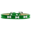 Mirage Pet Products White Bow Widget Dog Collar Emerald Green Ice Cream Size 12