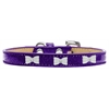 Mirage Pet Products White Bow Widget Dog Collar Purple Ice Cream Size 16