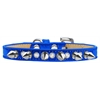 Mirage Pet Products Crystal and Silver Spikes Dog Collar Blue Ice Cream Size 14