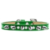 Mirage Pet Products Crystal and Silver Spikes Dog Collar Emerald Green Ice Cream Size 16