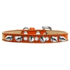 Mirage Pet Products Crystal and Silver Spikes Dog Collar Orange Ice Cream Size 10