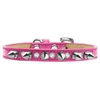 Mirage Pet Products Crystal and Silver Spikes Dog Collar Pink Ice Cream Size 12