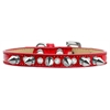 Mirage Pet Products Crystal and Silver Spikes Dog Collar Red Ice Cream Size 10