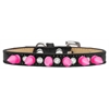 Mirage Pet Products Crystal and Bright Pink Spikes Dog Collar Black Ice Cream Size 10