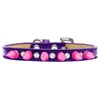 Mirage Pet Products Crystal and Bright Pink Spikes Dog Collar Purple Ice Cream Size 14