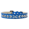 Mirage Pet Products Double Crystal and Silver Spikes Dog Collar Blue Ice Cream Size 14