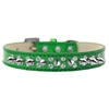 Mirage Pet Products Double Crystal and Silver Spikes Dog Collar Emerald Green Ice Cream Size 16