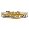 Mirage Pet Products Double Crystal and Silver Spikes Dog Collar Gold Ice Cream Size 14