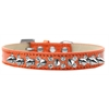 Mirage Pet Products Double Crystal and Silver Spikes Dog Collar Orange Ice Cream Size 14
