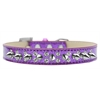 Mirage Pet Products Double Crystal and Silver Spikes Dog Collar Purple Ice Cream Size 12