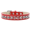 Mirage Pet Products Double Crystal and Silver Spikes Dog Collar Red Ice Cream Size 14