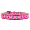 Mirage Pet Products Double Crystal and Bright Pink Spikes Dog Collar Pink Ice Cream Size 14