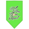 Mirage Pet Products Well Bless Your Heart Screen Print Bandana Lime Green Small