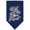 Mirage Pet Products Well Bless Your Heart Screen Print Bandana Navy Blue large