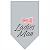 Mirage Pet Products Ladies Man Screen Print Bandana Grey Large
