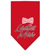 Mirage Pet Products Ladies Man Screen Print Bandana Red Small