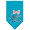 Mirage Pet Products Ladies Man Screen Print Bandana Turquoise Large