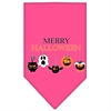 Mirage Pet Products Merry Halloween Screen Print Bandana Bright Pink Large