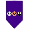 Mirage Pet Products The Spook Trio Screen Print Bandana Purple Large