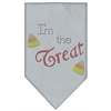 Mirage Pet Products I'm the Treat Rhinestone Bandana Grey Small