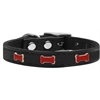 Mirage Pet Products Red Bone Widget Genuine Leather Dog Collar Black 24