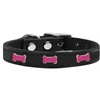 Mirage Pet Products Pink Bone Widget Genuine Leather Dog Collar Black 24