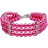 Mirage Pet Products Three Row Pearl Necklace Bright Pink Md (10-12)