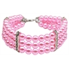 Mirage Pet Products Three Row Pearl Necklace Light Pink Md (10-12)